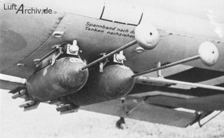 "A Junkers Ju-87 ""Stuka"" with two SD 50 bombs with dinort rods. Also note the flutes on the tail fins Source: http://www.luftarchiv.de/"